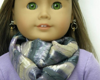 18 inch doll clothes, Girl Doll Clothes, lilac/gray infinity scarf