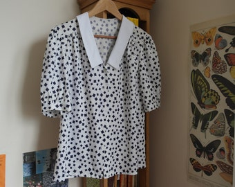 White and Navy Pattern Blouse