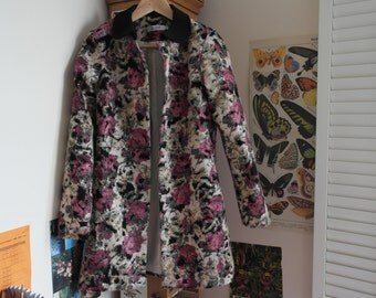 Floral Coat with Full Lining and Felt Collar