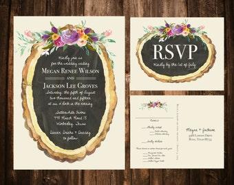 Wood Slice + Spring Florals Wedding Invitations; Rustic, Bohemian
