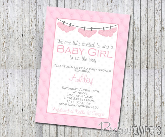 tutu cute baby shower invite 4x6 by rockinrompers on etsy