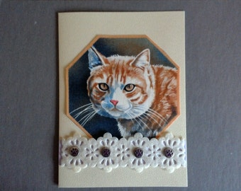 Orange Tabby Cat Hand Made Card with Purple Paws