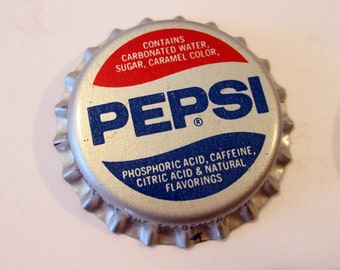 Lot of six unused Pepsi and Diet Pepsi bottle caps, 3 each, jewelry making supplies, 1980's, soda pop bottle