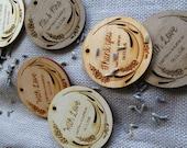 50 - 2 x 2 Custom Wedding Tags - Lavender Tags - Wood Gift Tags
