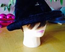 Black faux fur Trilby large hat
