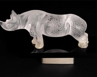 Lalique Rhinoceros-Faboulus Art Glass Sculpture w/Black Marble base-Rare_WOW!!!!