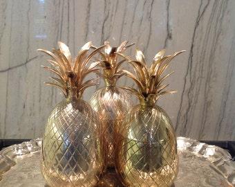 Vintage LARGE Brass Pineapple champagne bucket trinket jar vase candle holder Hollywood Regency MUST have interior styling decor