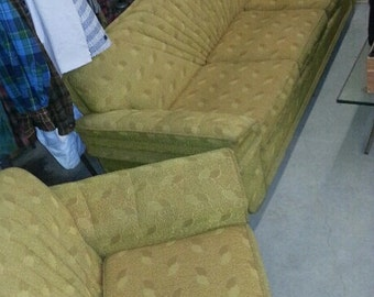 1940s Golden Frieze Sofa And Matching Frieze Club Chair Mid Century Modern