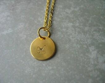 Ginkgo Leaf Necklace Hand Stamped Ginkgo Leaf Pendant Ginkgo Jewelry Custom Jewelry Minimalist Jewelry Everyday Jewelry
