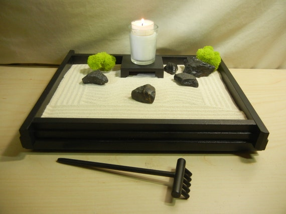 M02 medium desk or table top zen garden w candle and stand for Table zen garden