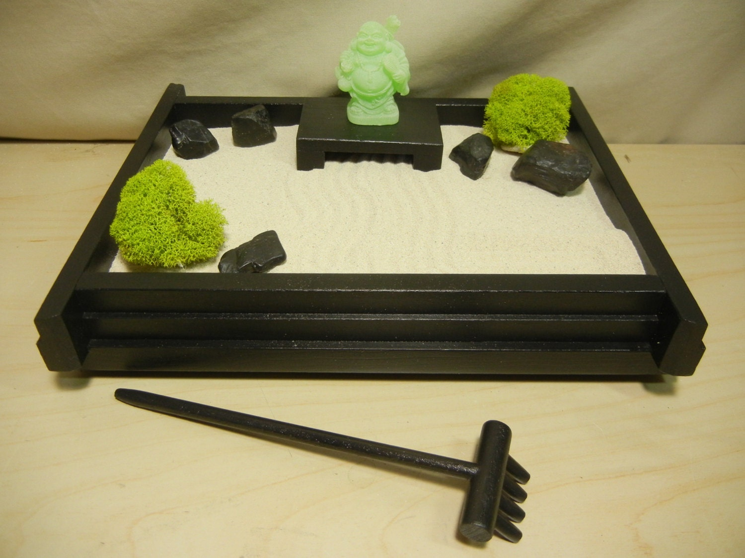 S 03fb Small Desk Or Table Top Zen Garden With Frosted Jade