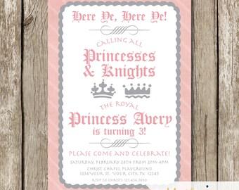 Pink and Grey Princess and Knight Birthday Invite - Princess and Knight Party - Pink and Grey Princess Party - Princess and Knight Invite
