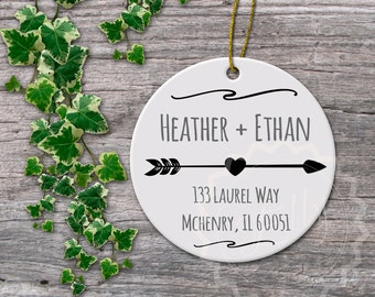 Personalized first Christmas ornament married, couples shower gift, wedding ornament gift,  ornament married, arrow and hearth - 061