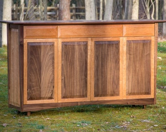 "72"" Black Walnut + Cherry Dining Buffet Cabinet, Sideboard, Credenza"