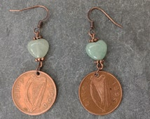Irish coin earring with aventurine hearts 1996 irish penny earrings 19th birthday gift, lucky irish penny