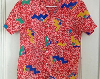Bright 90s Graphic Geometric Print Button Down Top