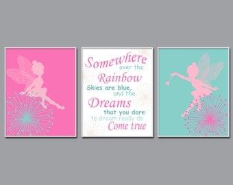 Fairy Nursery Art Print, Baby Girl Fairy and Quote Wall Art, Girls Bedroom Decor - N805,806,807 - Unframed
