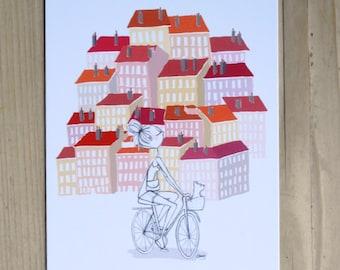 """Postcard """"Lyon to bike"""""""