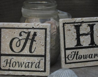 Gift Boxed Personalized Monogram Distressed Drink Coasters / Foam Backed / Set of 4 / Choose Rustic or Vintage / Makes a wonderful Gift