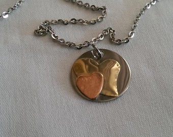 Brass Copper Heart Love Pendant Necklace - Inspirational Necklace - Soldered Heart - Gifts