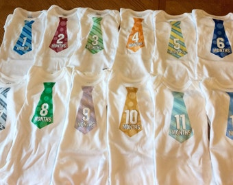 Baby Boy Tie Month to Month Onesies