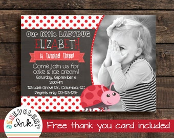 Ladybug Invitation - Ladybug Birthday Invitation - Ladybug Birthday Party - Printable Ladybug Invite - Girl Birthday Invitations