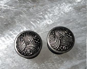 "OOAK Metal Swirl Plugs 9/16"""