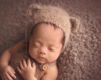 Light brown bear newborn bonnet. Baby photo prop. Newborn bonnet with funny ears