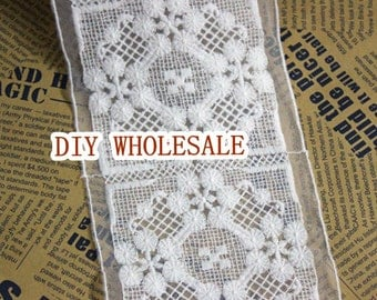 2 yards Lace Trim, Vintage Lace Fabric Trim, Embroidery Lace White Mesh Lace