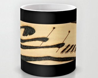 Afro Balafon Player / Classy Exclusive Solar Art- Solar Pyrography- Solar Etched Design / Ceramic Beverage Mug - Coffee, Tea, Hot Toddy, etc