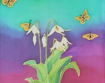Hand-painted Silk Wall Hanging 16x20 - Oregon Wild Fawn Lilies with Butterflies