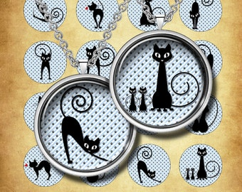 """CATS -  Digital Collage Sheet – 1"""" & 1.5"""" circles – Printable Download for Pendants, Earrings, Charms"""