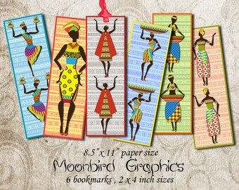 AFRICAN BOOKMARKS -  Digital Collage Sheet – 2 x 4 inch size   – Printable Instant Download for your craft