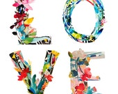 Love is Love - collage, lettering, watercolor, giclee, art print, collage art, Love letters, let love rule, floral letters, floral collage
