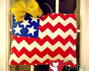 American flag hand painted burlap door hanger