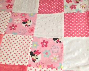 Patchwork Minky Baby Blanket Pink Minnie Mouse 31 x 35 inches