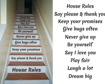 House Rules Decals for Staircase Riser Decor