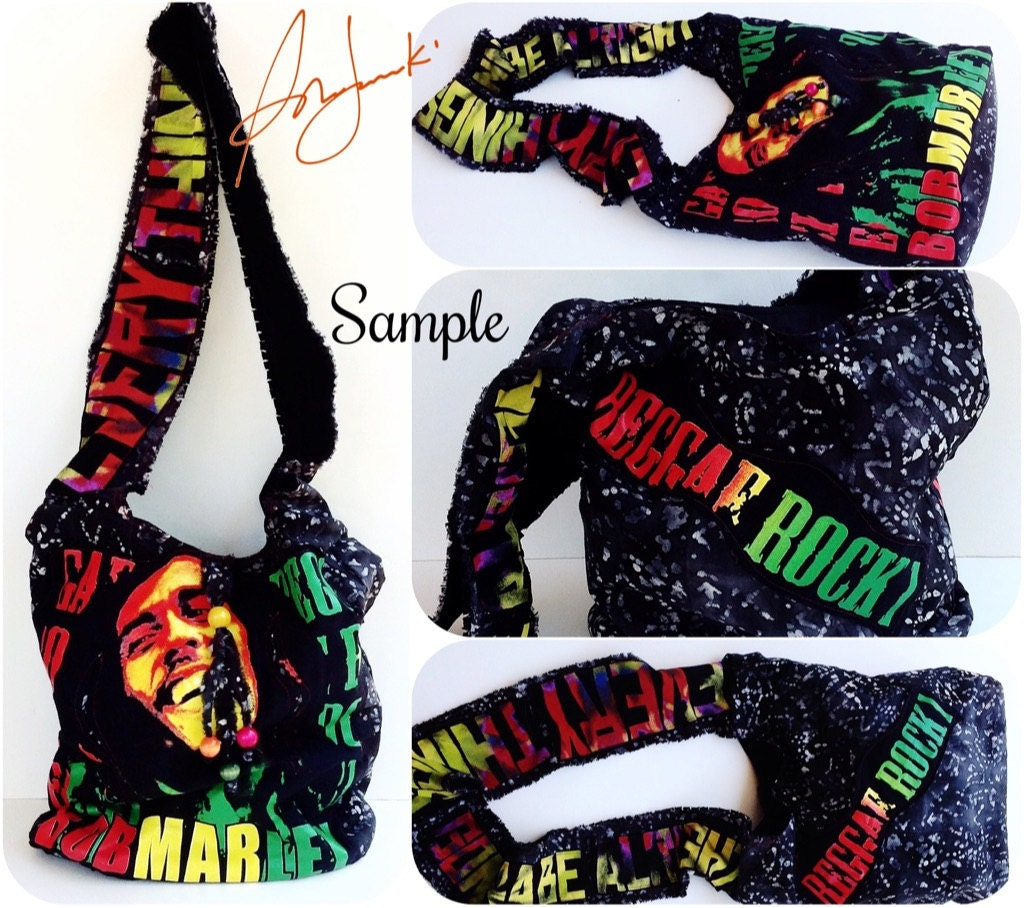 Bob marley custom t shirt bag reggae hippy satchel hobo for Personalized t shirt bags
