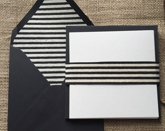 Black and White Strip Lined Stationery