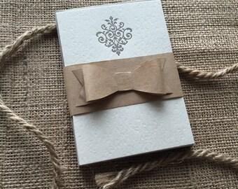 Gray Letterpress Embellished Stationery
