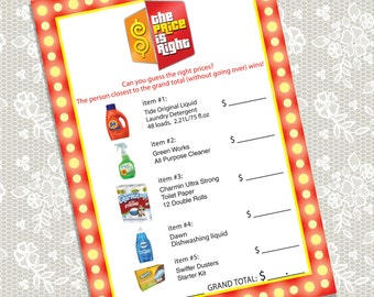 Printable 'The Price is Right' Bridal Shower game card, Instant Download