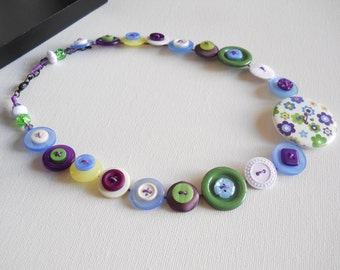 Button Necklace, Button Jewellery, Statement Necklace, Purple Necklace, Green Necklace, Unique Necklace, Handmade Necklace, Quirky Necklace