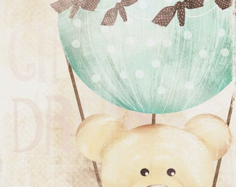 art print , Kids wall art - baby nursery decor - nursery wall art - children wall art - - print teddy bear air ballon close