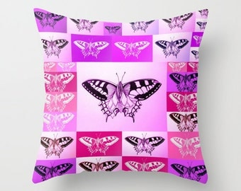 butterfly throw pillow case, throw pillows with butterflies, butterfly print, butterfly art, pink and purple homewares, on cushion for couch