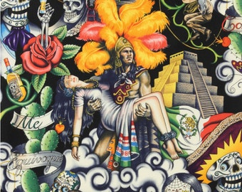 Contigo 100% Cotton Fabric, Black by Alexander Henry Aztec Warrior Mexico Latino
