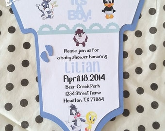 Looney Tunes Baby Shower Invitation-Onesie Invitation-Handmade Invitation