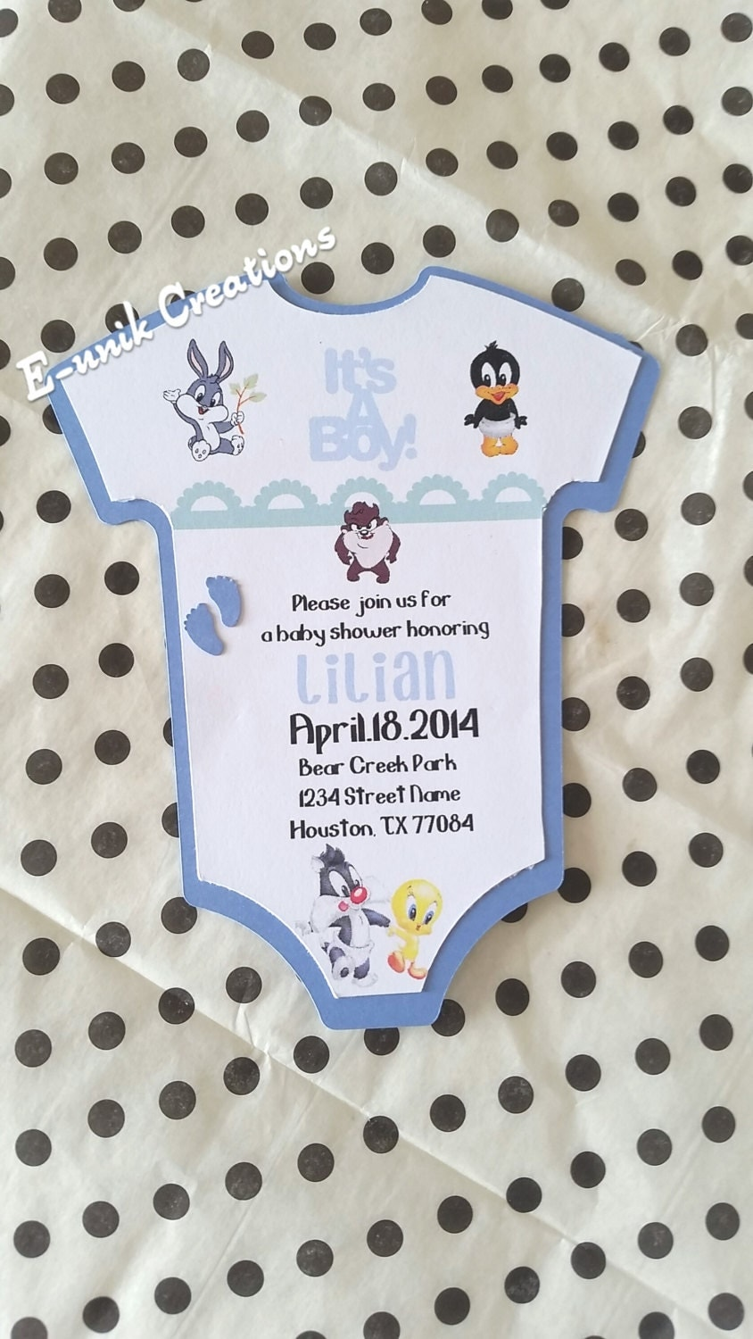 looney tunes baby shower invitation