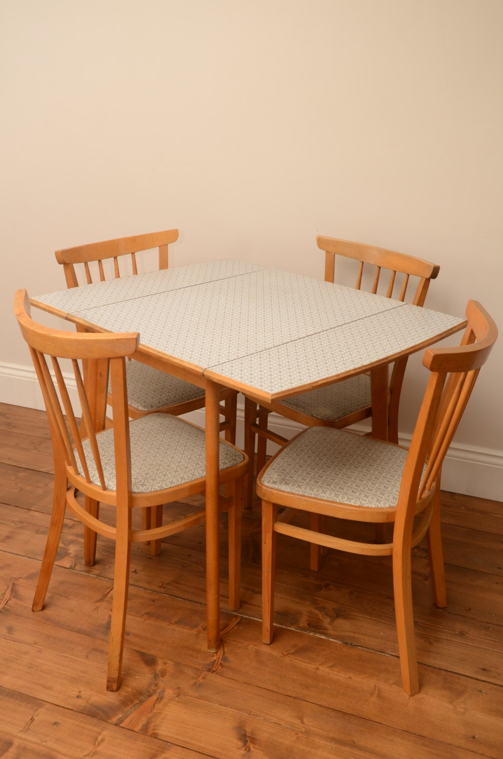 Nice retro formica dropleaf table and 4 chairs vintage wooden dining room table mid century - Retro dining room chairs ...