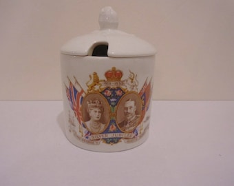 Antique 1935 Silver Jubilee  King George V and Queen Mary  Commemorative Preserve Pot