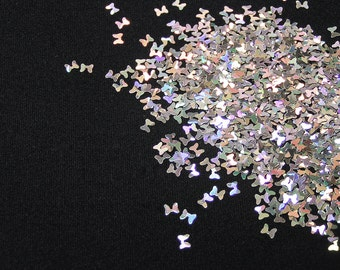 solvent-resistant glitter shapes-silver hologram bows